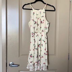 Pastel yellow and rose-print flowy dress w/ lining